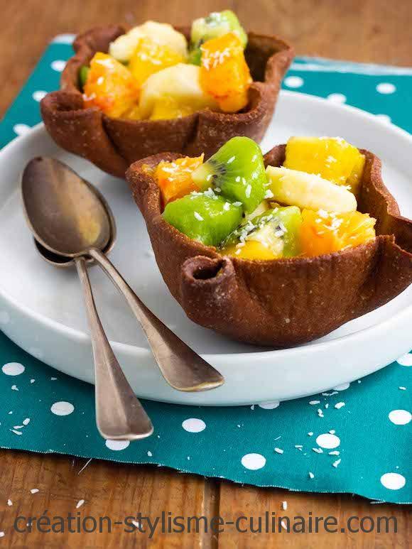 coques biscuits chocolat salade de fruits