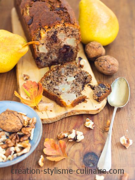 cake sans gluten poire sarrasin noix pépites de chocolat